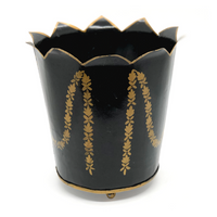 Hand Painted Black and Gold Cachepot