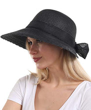 Load image into Gallery viewer, Elegant Wide Brim Floppy Sun Hat, Beach Hat for Women, Black, One Size