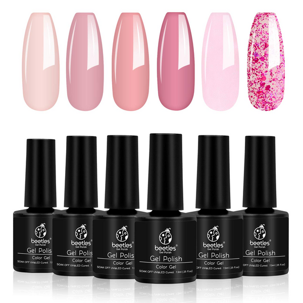 Gel Polish 6 Colors Set | Pink Confetti