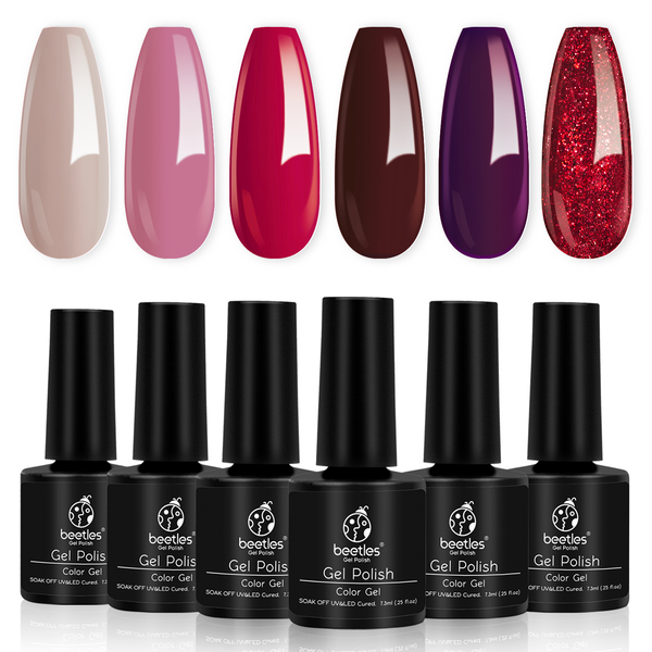 Gel Polish 6 Colors Set | Berry Merlot