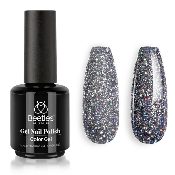 Gel Nail Polish 15ml | Sylvia Grey Glitter