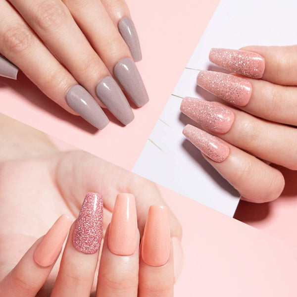 Dip Powder Nails Kit #046 | Nude Glitter
