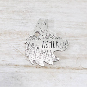 Great outdoors Wolf head ID Tag