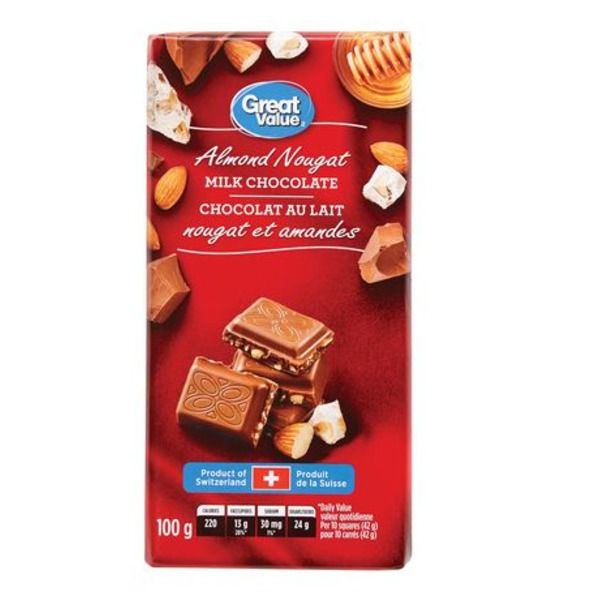 Great Value Almond Nougat Milk Chocolate 100g