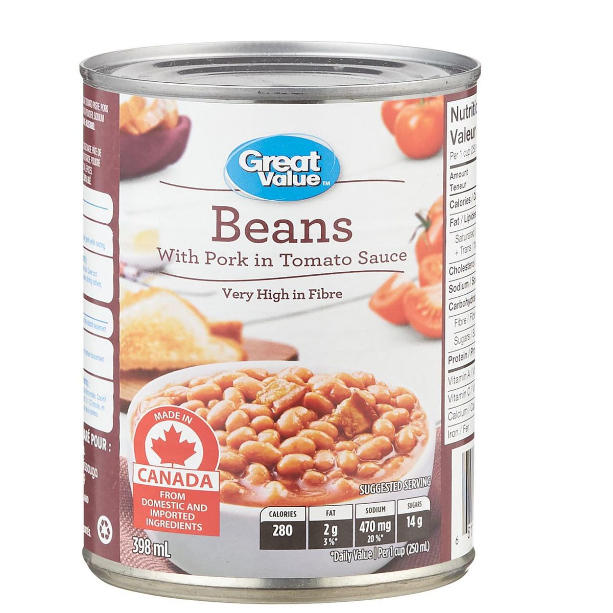 Great Value Baked Beans with Pork in Tomato Sauce 398ml