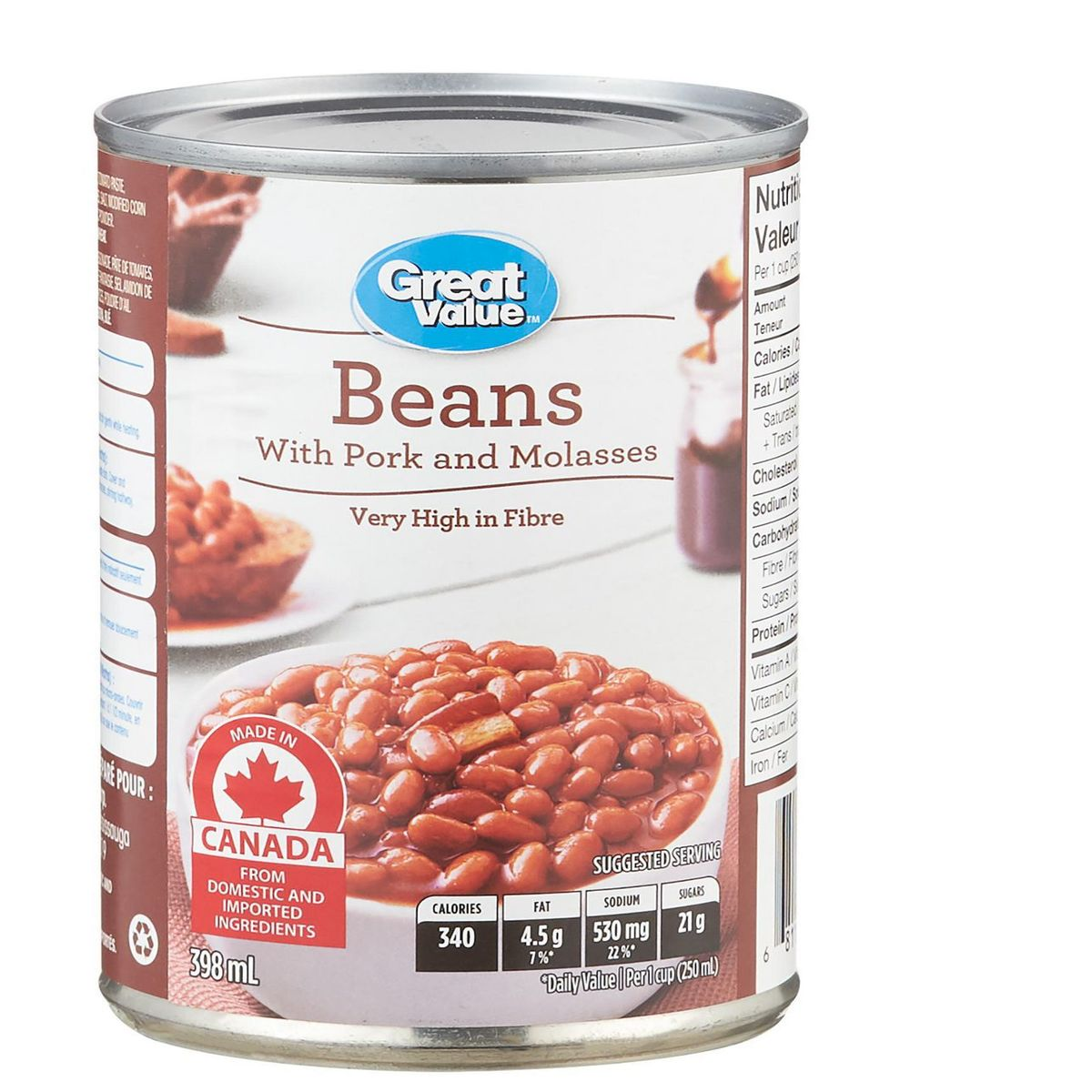 Great Value Baked Beans with Pork & Molasses 398ml