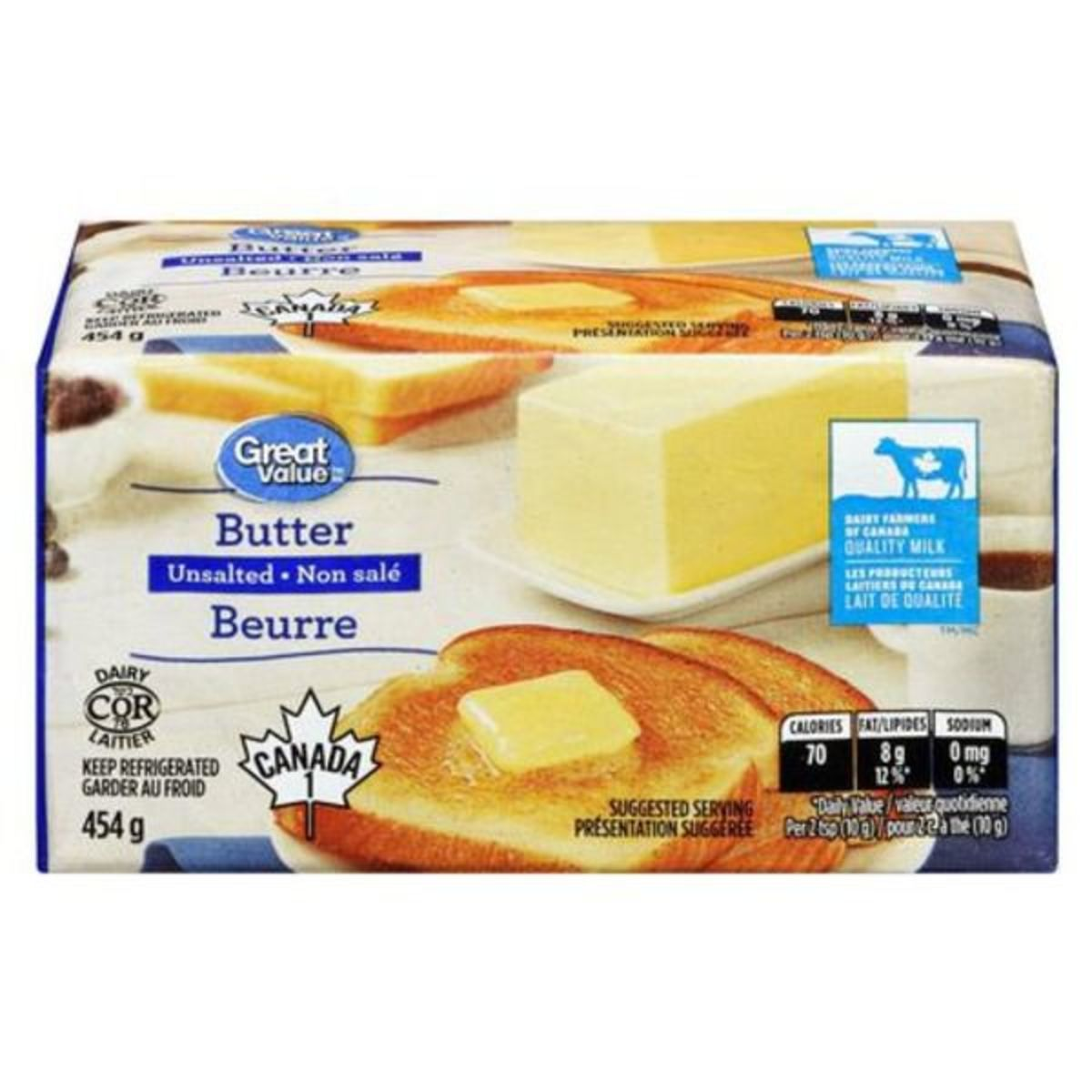 Great Value Unsalted Butter 454g