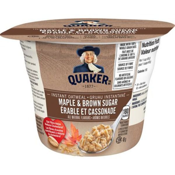 Quaker Instant Oatmeal Cup Maple & Brown Sugar 48g