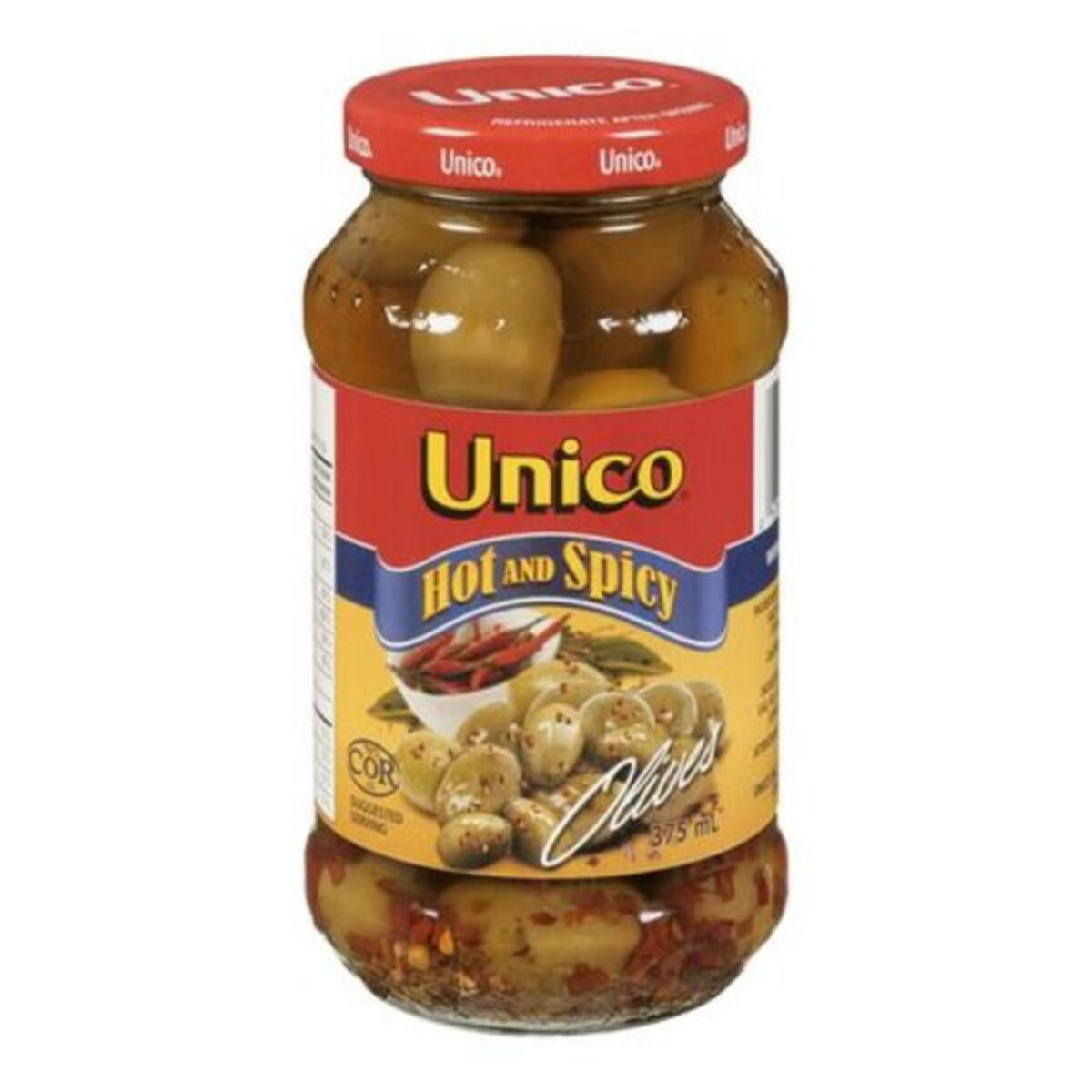 Unico Hot & Spicy Olives 375ml