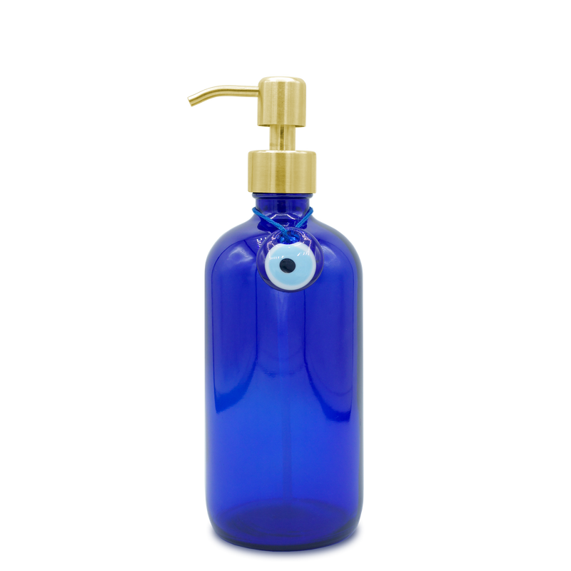 Meli Hand signature 16oz stylish blue glass bottle hand sanitizer with gold pump and evil eye charm, in coconut or citrus scent, aloe vera, natural ingredients, killing germs 99.99%, 70% ethanol, nice for interior on desktop, office, store entrance, counter, entrance console