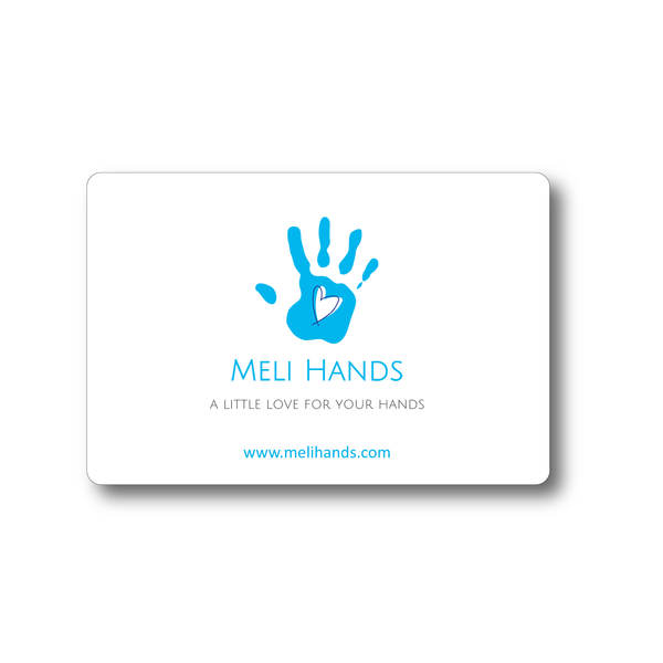 gift card to Meli Hand signature stylish blue glass bottle hand sanitizers in coconut or citrus scent, aloe vera, natural ingredients, killing germs 99.99%, 70% ethanol, gift idea, favors for wedding, bridal shower, baby shower, birthday party, business event