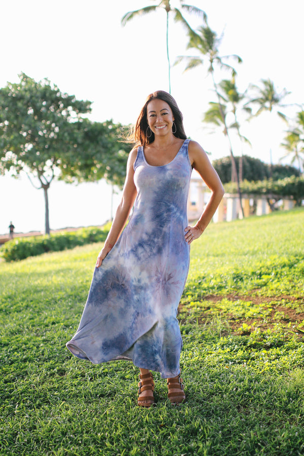 Velour Tie Dye Tank Maxi Dress (2 colors)