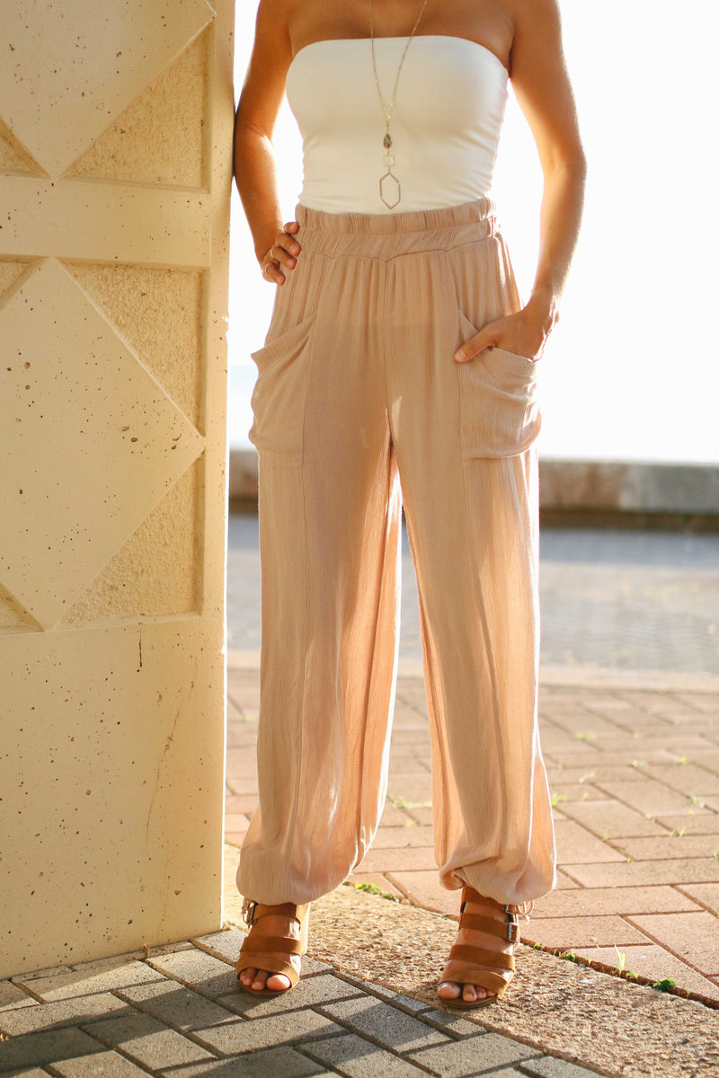 Crinkle Balloon Drawstring Pants (BLACK, OLIVE, TAUPE) (RESTOCK)