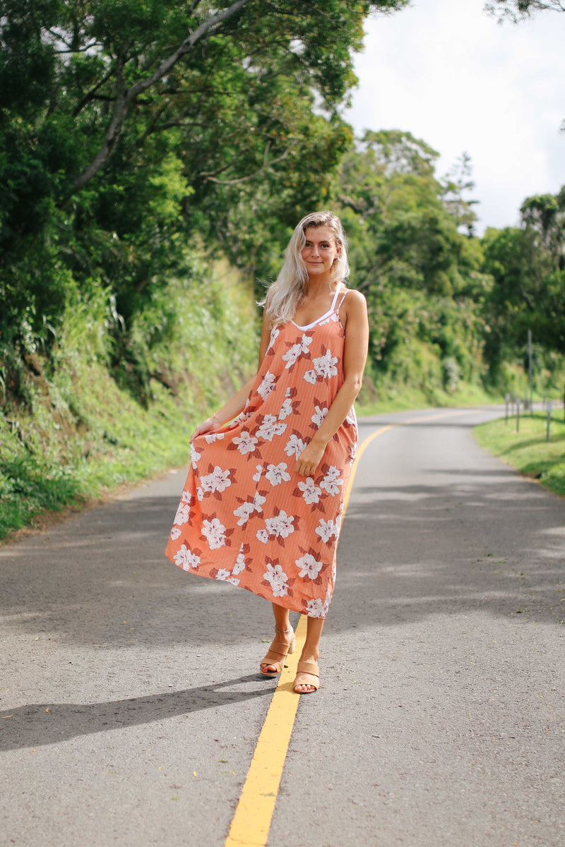 Metallic Floral Midi Dress