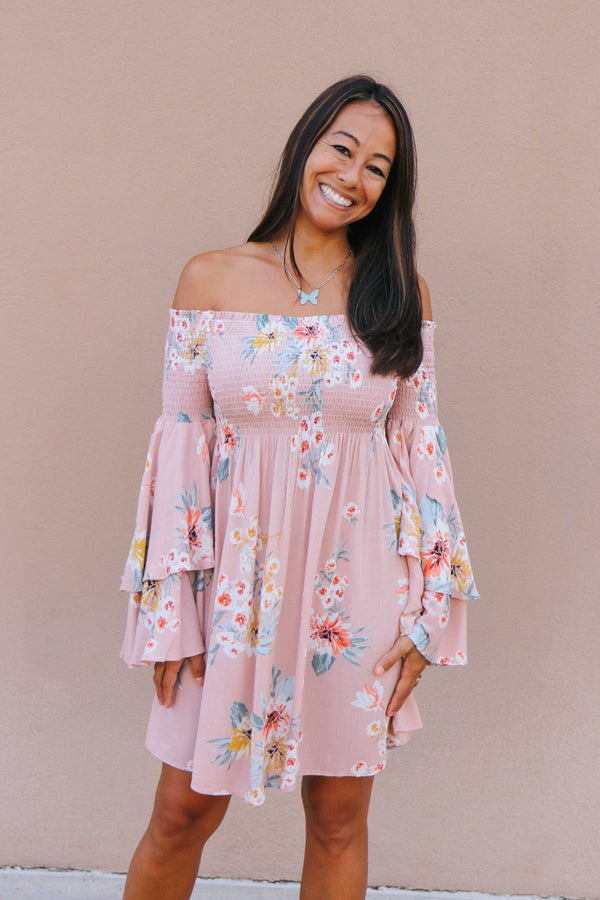 Floral Flutter Sleeve Dress (2 colors available)