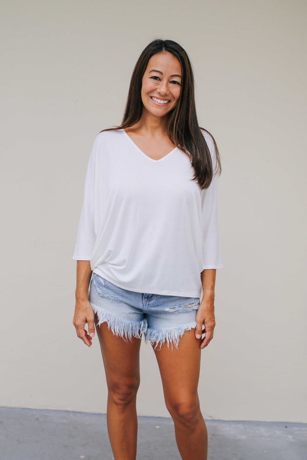 Half Sleeve Vneck Top (3 colors) RESTOCKED