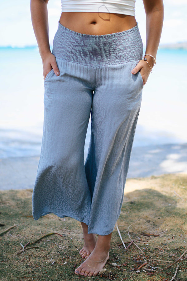 Dusty Blue Textured Smocked Pants