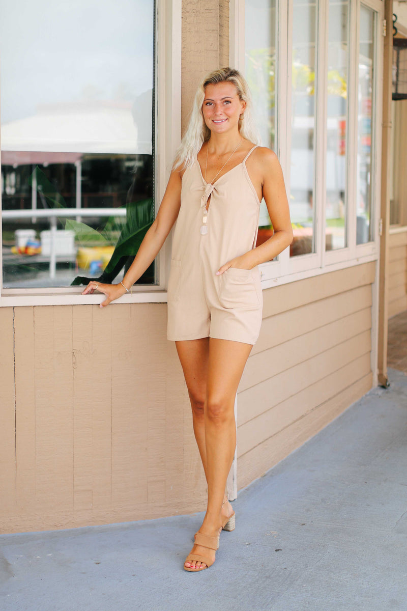 Linen Bow Tie Romper (2 colors)