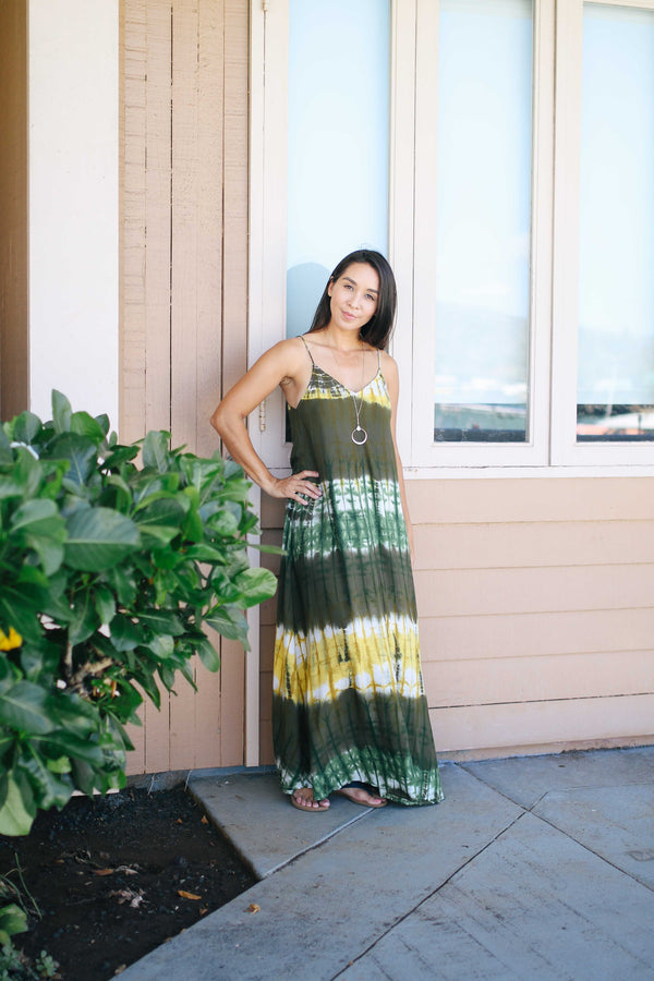 Tie Dye Tie Back Maxi Dress