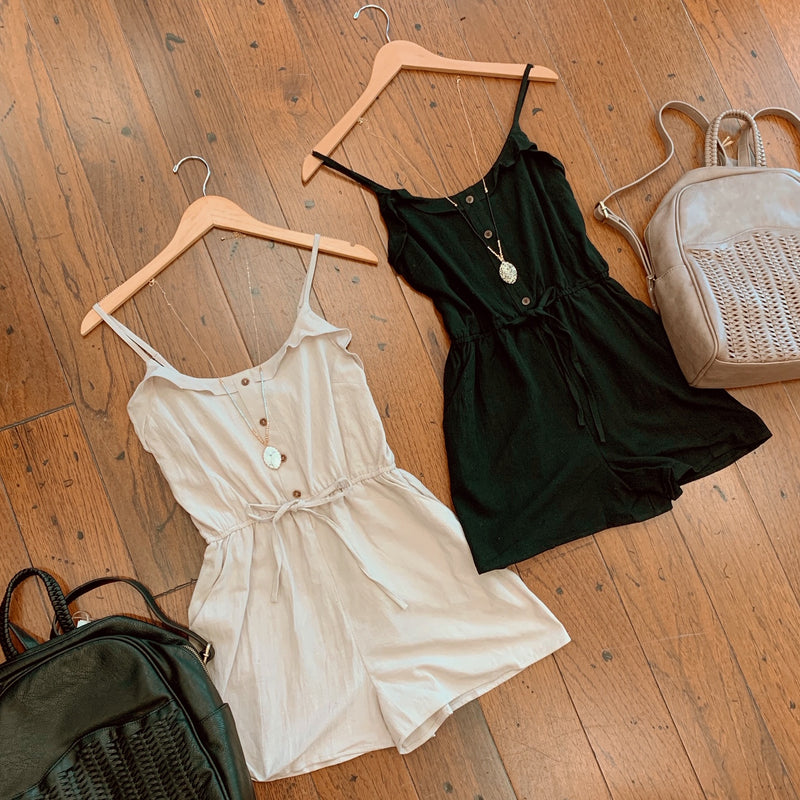 Button Front Romper (2 colors available)