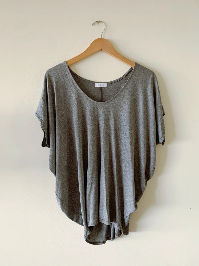Solid V-Neck Tee (CHARCOAL & IVORY)
