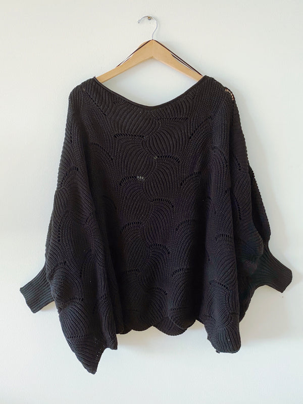 Scallop Oversize Sweater Top (3 colors)