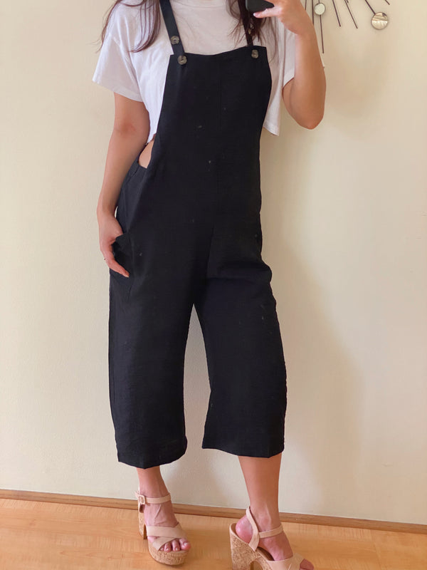Cropped Overall Jumpsuit (in BLACK & BLUSH)