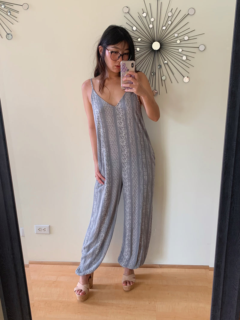 Stripe Patchwork Relaxed Fit Jumpsuit