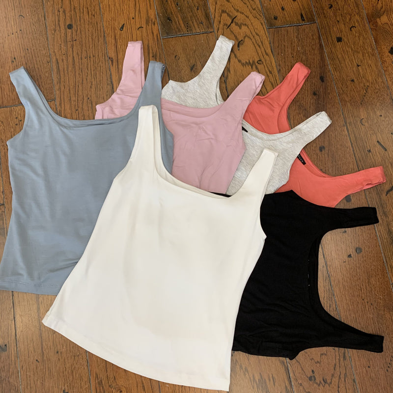 Square Neck Tank Top (multiple colors available)