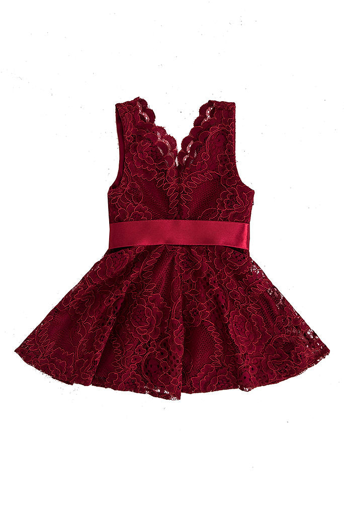 Itty Bitty Pretty Lace Dress - Burgundy AGE 1/2