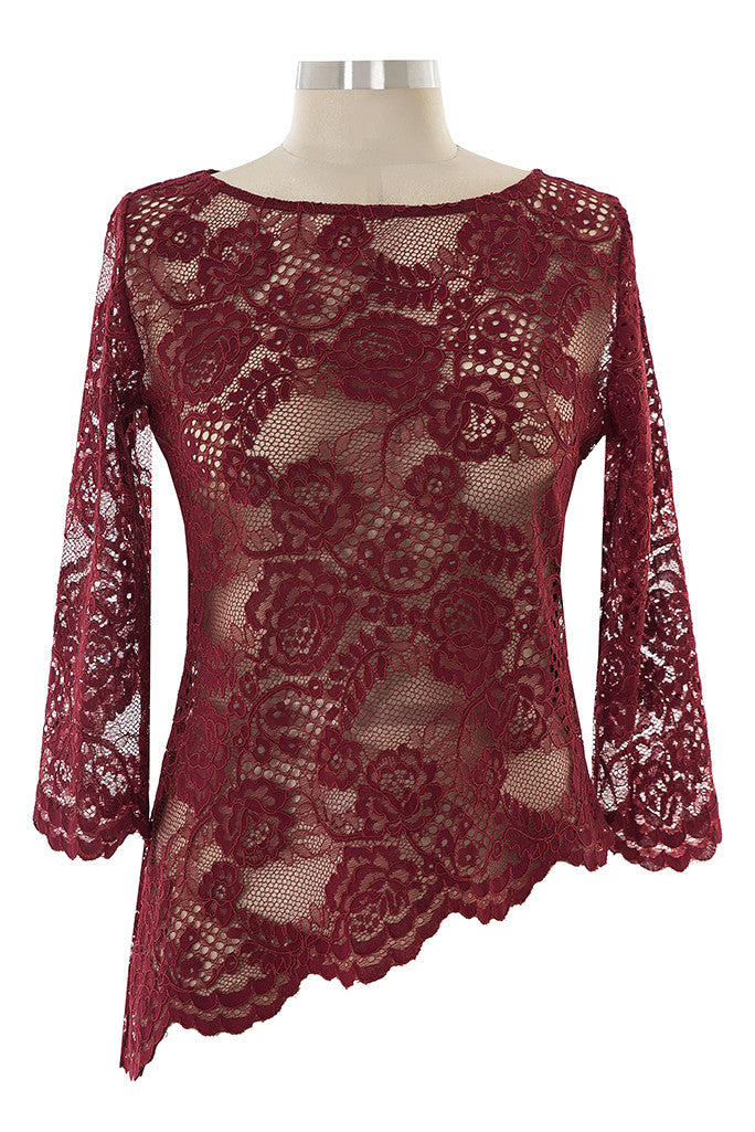 Night & Day Lace Top - Burgundy