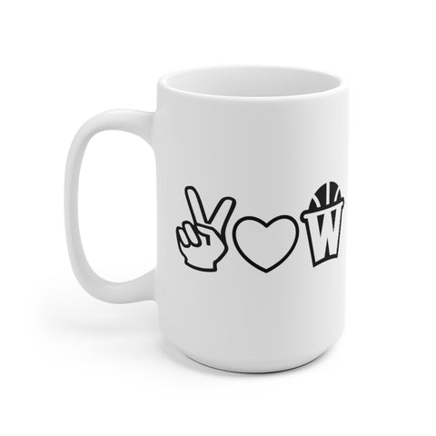 Peace, Love and Basketball White Ceramic Mug