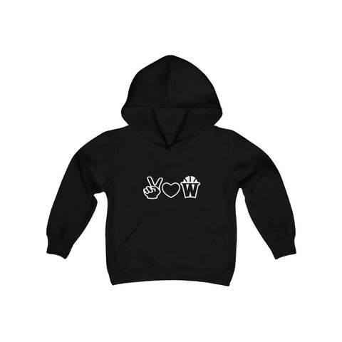 Peace, Love and Basketball Kids Hooded Sweatshirt in Black