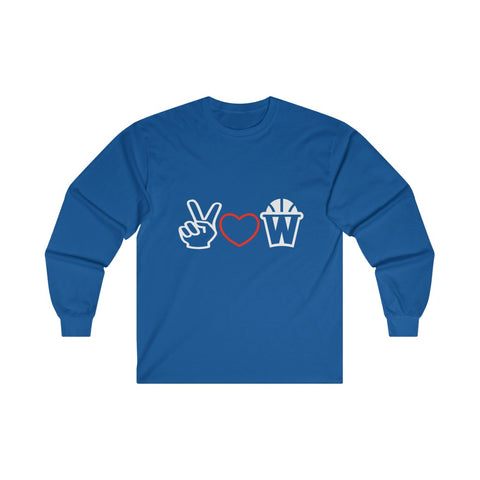 Peace, Love and Basketball Long Sleeve Shirt in Blue