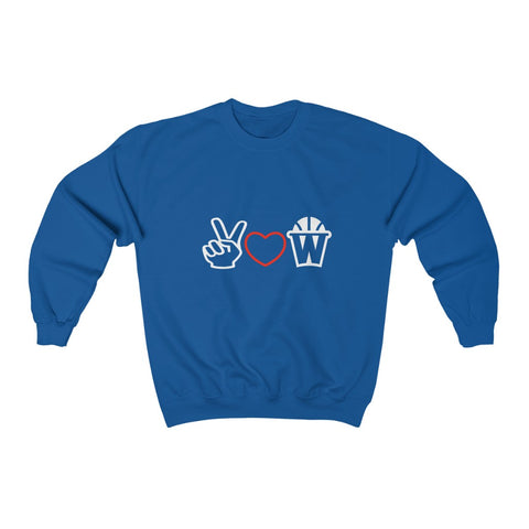 Peace, Love and Basketball Crewneck Sweatshirt in Blue