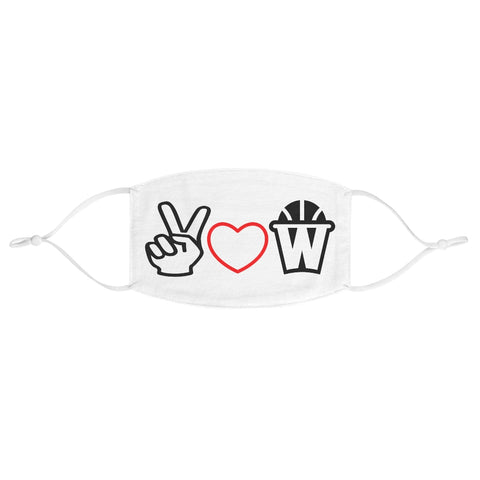 Peace, Love and Basketball Fabric Face Mask Red Heart