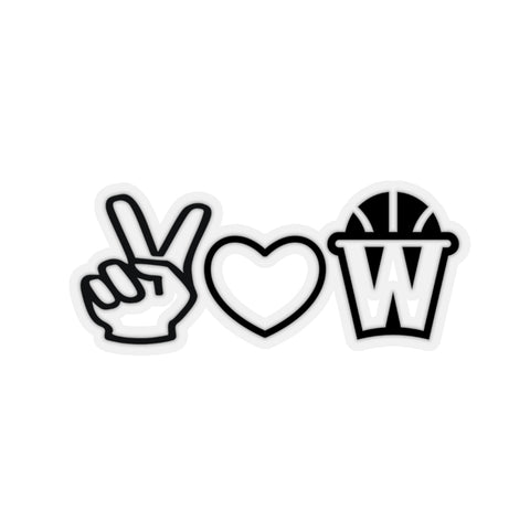 Peace, Love and Basketball Sticker
