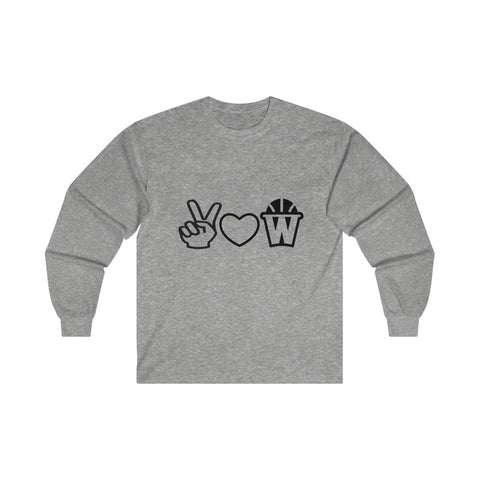 Peace, Love and Basketball Long Sleeve Shirt in Gray