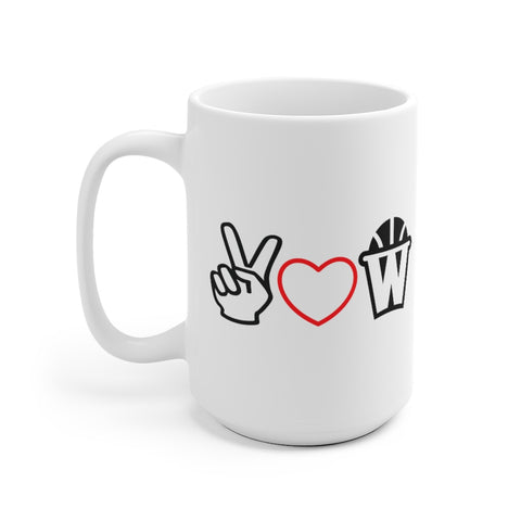 Peace, Love and Basketball White Ceramic Mug with Red Heart