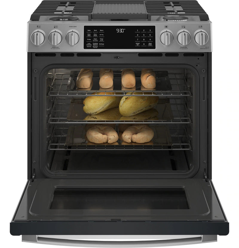 "GE Profile 30"" Smart Slide-In Front-Control Gas Range-PGS930YPFS"