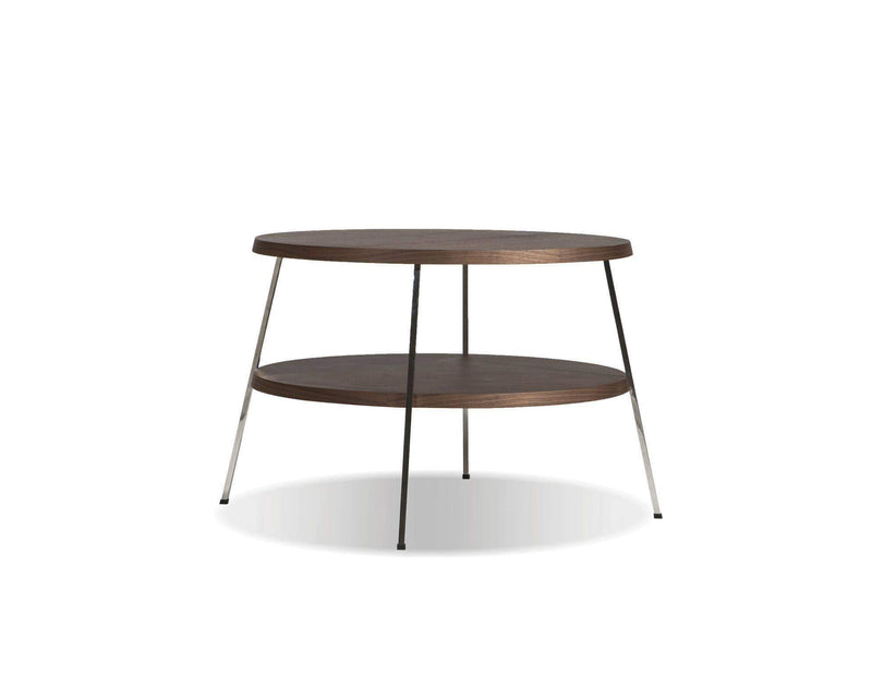 "Mobital End Table Large 24"" Double Decker End Table American Walnut Veneer Tops with Polished Stainless Steel Frame"