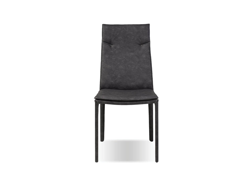 Mobital Harris Dining Chair in Grey Full Leatherette Wrap with White Stitching (Set of 2)