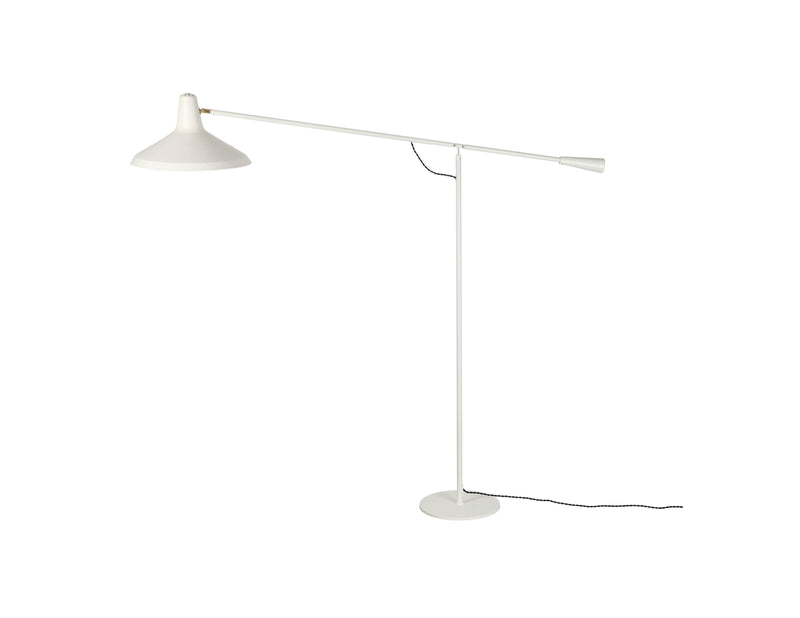 Mobital Cantilever White Floor Lamp with Aluminum Lampshade