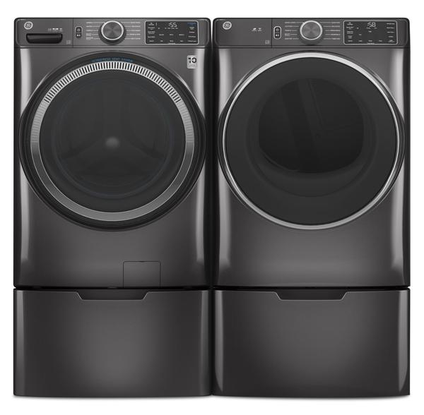 GE 5.5 Cu. Ft. Front-Load Washer and 7.8 Cu. Ft. Front-Load Gas Dryer-GFW550DG/GFD55GDG