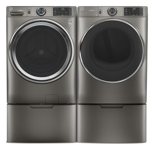 GE 5.5 Cu. Ft. Front-Load Washer and 7.8 Cu. Ft. Electric Dryer with Built-In Wi-Fi-GFW650SN/GFD65ESN