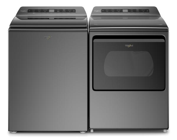Whirlpool 5.5 Cu. Ft. Smart Top-Load Washer and 7.4 Cu. Ft. Smart Electric Dryer - Chrome Shadow-WTW612C/YWED612C