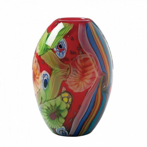 Red Floral Flow Glass Vase