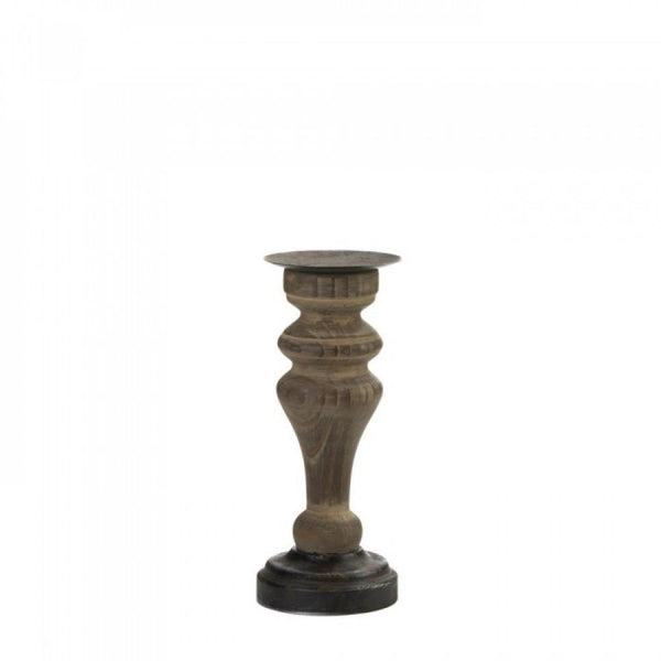 Antique-style Wooden Column Candleholder