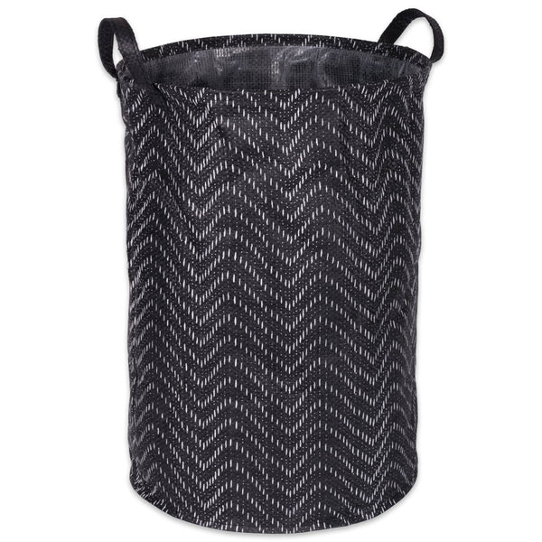 Pe Coated Woven Paper Laundry Hamper Tribal Chevron Black/white Round 13.75x13.75x20