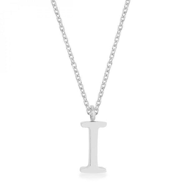 Elaina Rhodium Stainless Steel I Initial Necklace